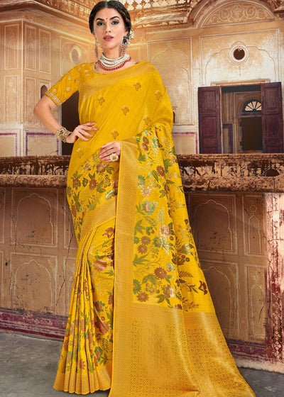 Yellow Silk Saree Designed with Zari and Resham work