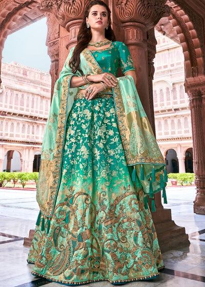 Green Banarasi Silk Lehenga with Zardosi & Moti work