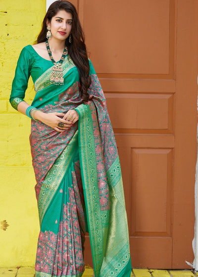 Deep Green and Dull Red Half N Half Silk Saree with Heavy Golden Border