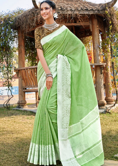 Emerald Green Soft Cotton Linen Saree