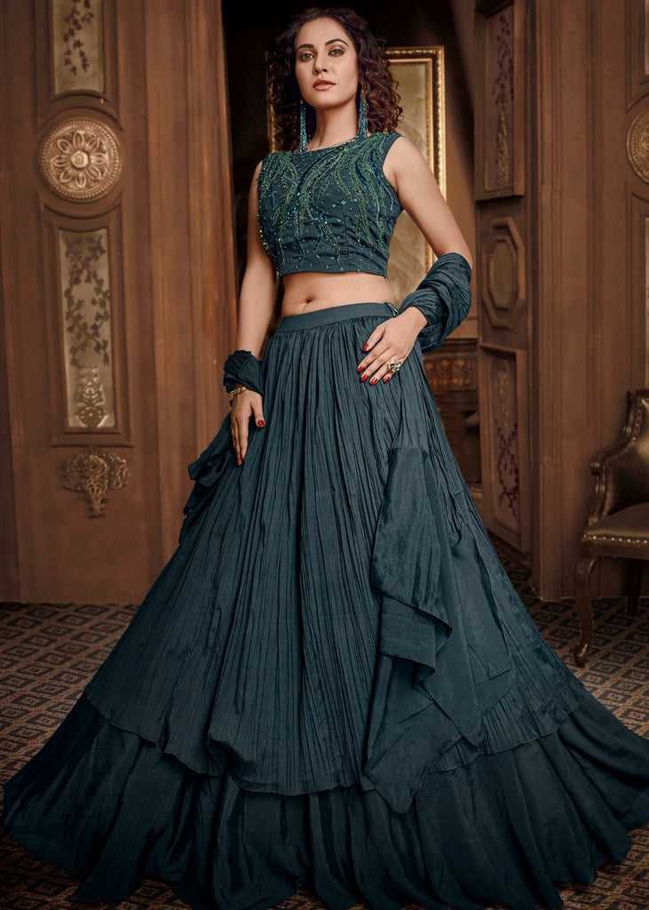 Teal Blue Satin Silk Designer Party Wear Lehenga  Choli