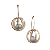 Caged Sphere 14k Gold Earring