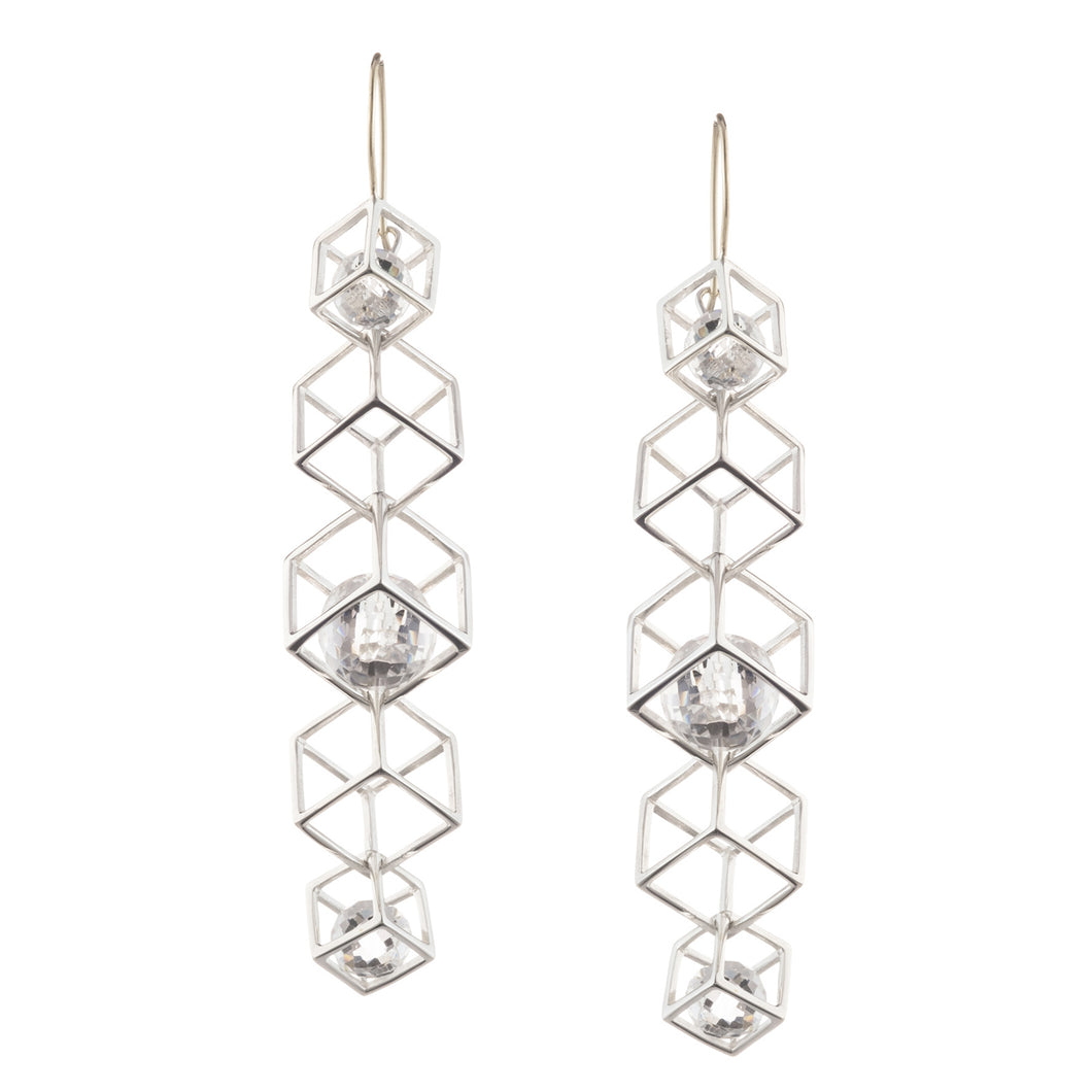 Caged Cube Chain X-Long Earring