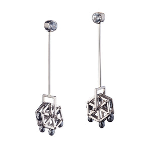 Ferris Wheel Black Diamond Earring