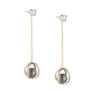 Caged Diamond Sphere Dangle Earring