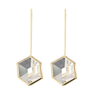 Parallelepiped 18k gold with Quartz Drop Earring