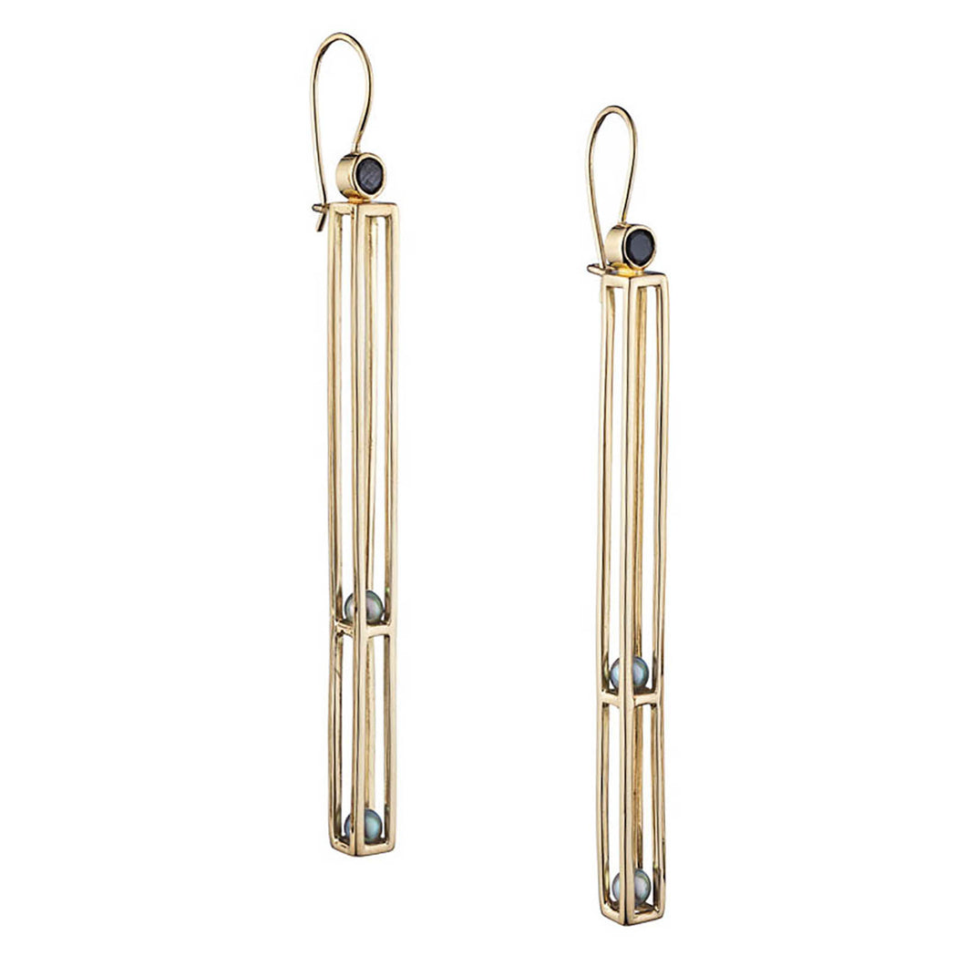 Caged Long Two Tier Gold Earring