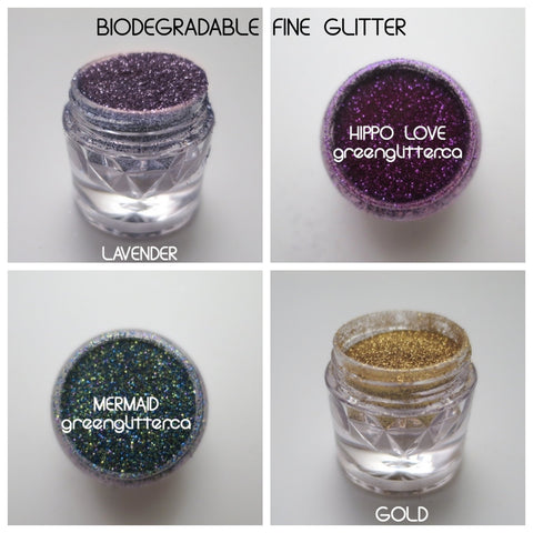 Fine Biodegradable Green Glitter Golds and Purples