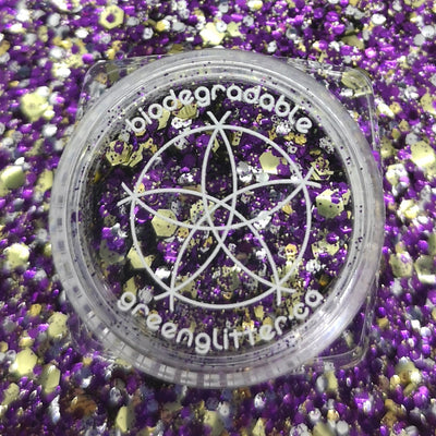 Biodegradable Chunk Green Glitter - Royale | Purple Gold and Silver  Cosmetic Glitter