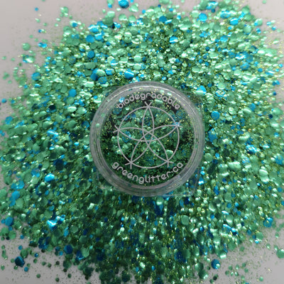 Biodegradable Body Green Glitter - Emerald City | Green Blue Chunky Glitter