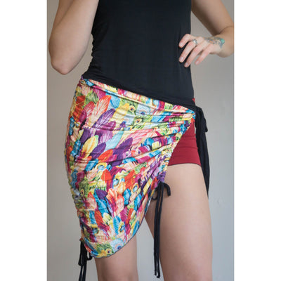 Convertible Skirt - Rainbow Feather Print Adjustable Top