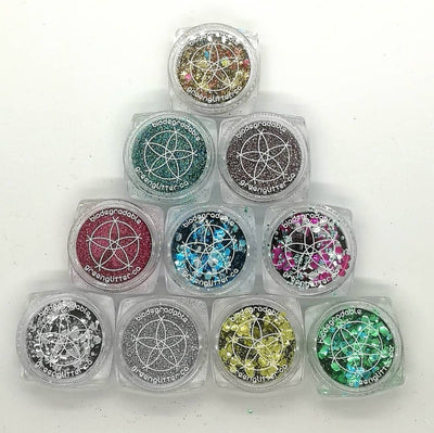 $99 Biodegradable Glitter Artist Pallet | 10 Glitters w Brush Set: Pick Your Colors