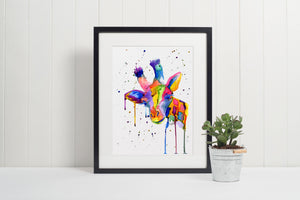 Rainbow Giraffe Print, Watercolour Giraffes Art, Multi Coloured Giraffe Painting, Paint Splatter Art, Giraffe Lover Gift, New Home Decor