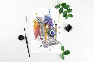 Vintage Camera Print, Classic Photo Art, Camera Lover Painting, Vintage Decor, Photography Lover, Watercolour Camera Artwork, Kodak Camera