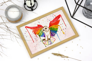 Rainbow Owl Print, Barn Owl Art, Owlet Lover Painting, Flying Owl Decor, Rainbow Lover, Watercolour Owl, Nature Lover Print, Owl Gift Art