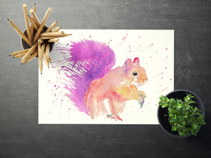 Red Squirrel Print, Purple Squirrel Art, Squirrel Lover Painting, Painted Squirrel Decor, Gifts for Squirrel Lovers, Watercolour Squirrel