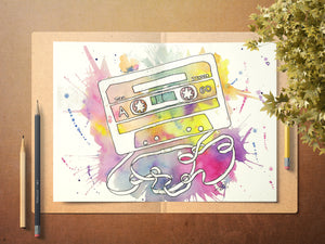 Rainbow Cassette Print, Retro Music Art, Vintage Lover Painting, Cassette Tape Decor, Music Lover, Watercolour Tape, Retro Music Lover Print