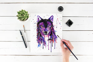 Purple Wolf Print, Blue Wolves Art, Wolf Lover Painting, Painted Wolf Decor, Gifts for Wolves Lovers, Watercolour Wolf Gifts, Wolf Wall Art
