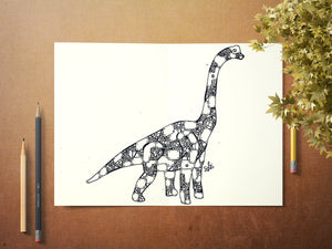 Steampunk Brachiosaurus Print, Clockwork Dinosaur Art, Dino Lover Painting, Dinosaur Decor, Gifts for Brachiosaurus Lovers, Long Neck Dinos