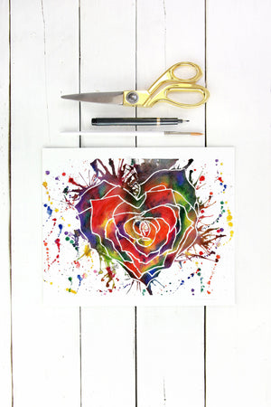 Rainbow Rose Heart Print, Flower Floral Gardening Abstract Decor