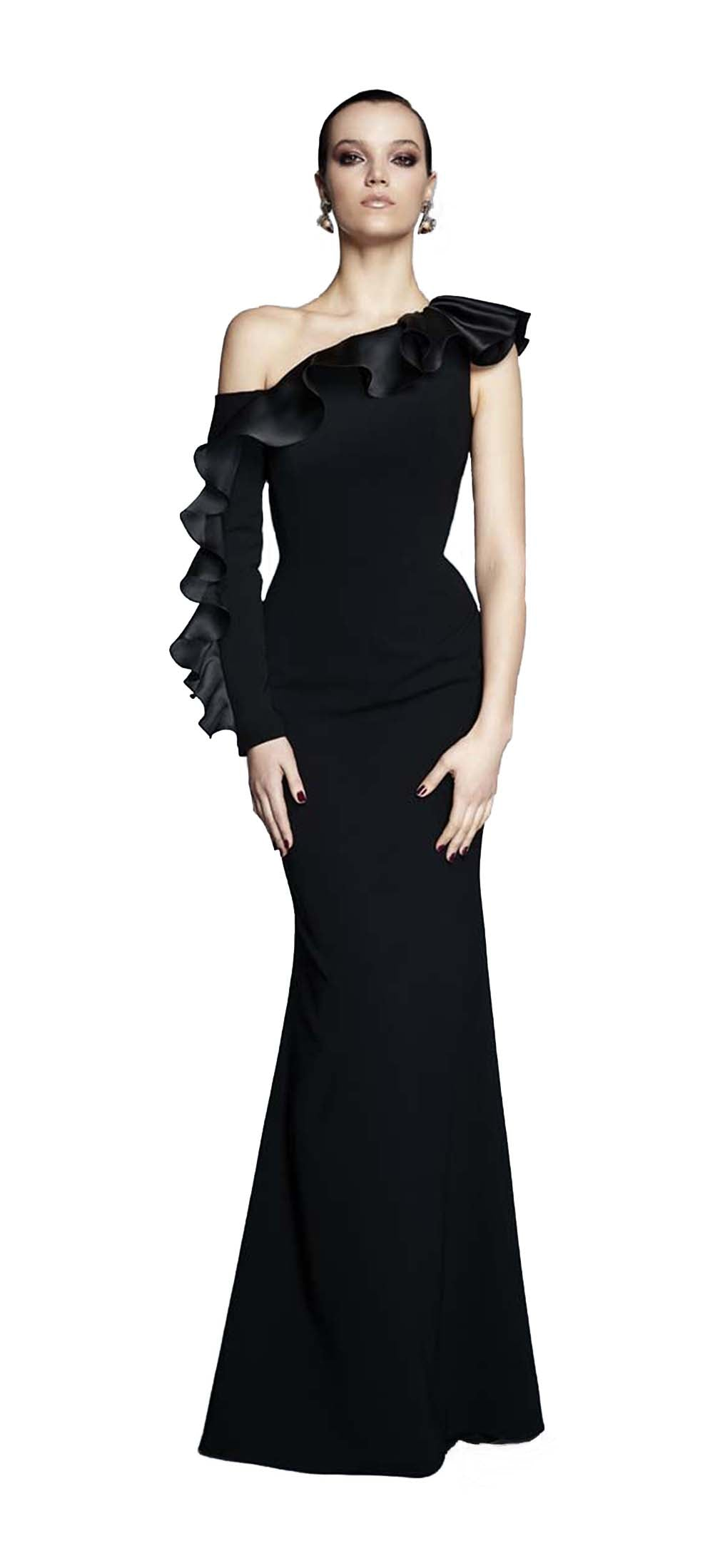 One Shoulder Gown with Sleeve