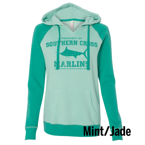 Go Marlins Raglan Ladies Hooded Sweatshirt