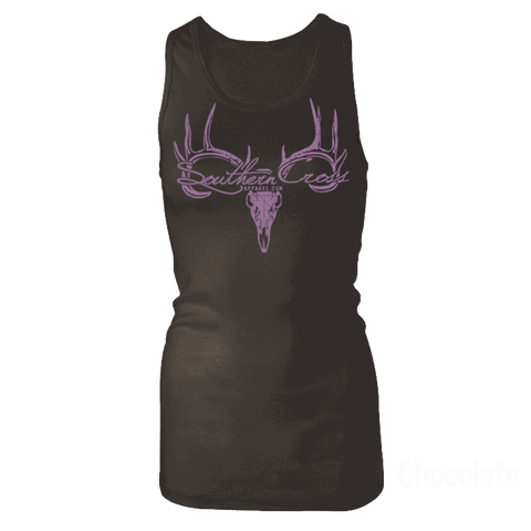Deer Skull Logo Black Tank Top Large