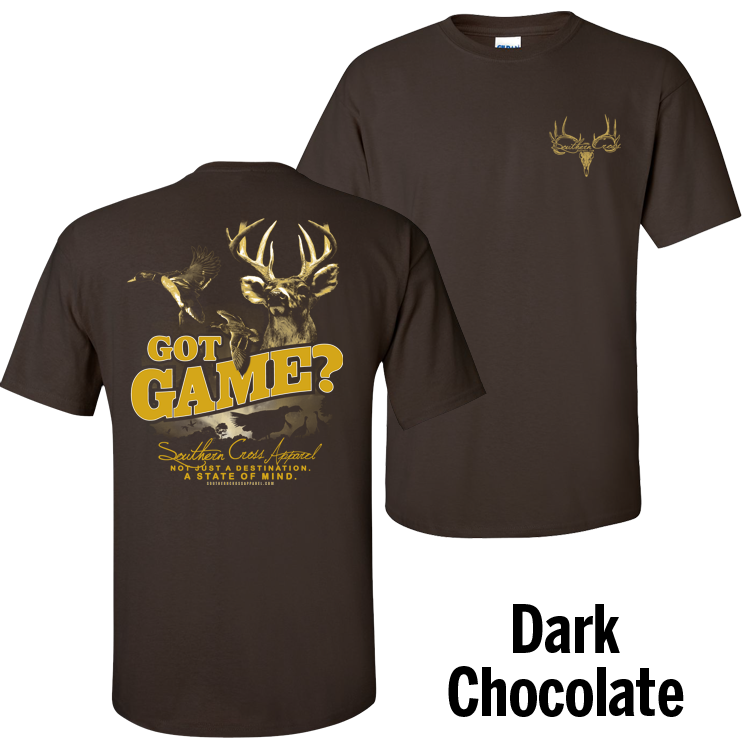 Got Game Dark Chocolate Short Sleeve Small, T-Shirts - Southern Cross Apparel