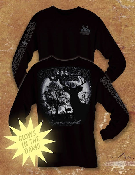 Glow Deer Black Long Sleeve 2XL, T-Shirts - Southern Cross Apparel