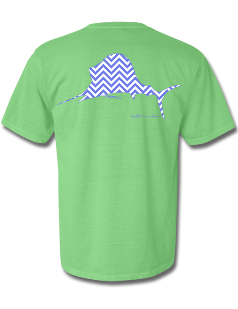 Chevron Sailfish Neon Green Short Sleeve Small