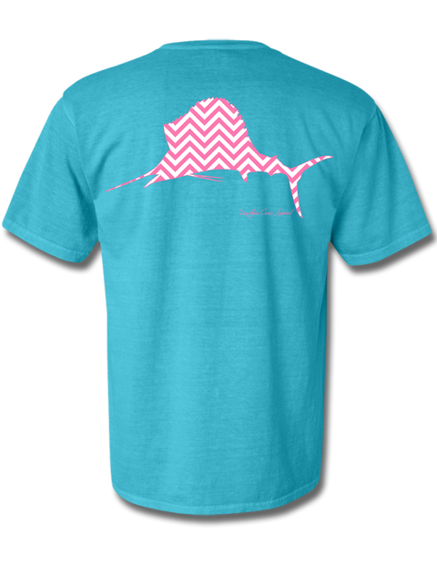 Chevron Sailfish Lagoon Blue Short Sleeve Small
