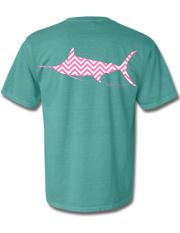 Chevron Marlin Seafoam Short Sleeve Small