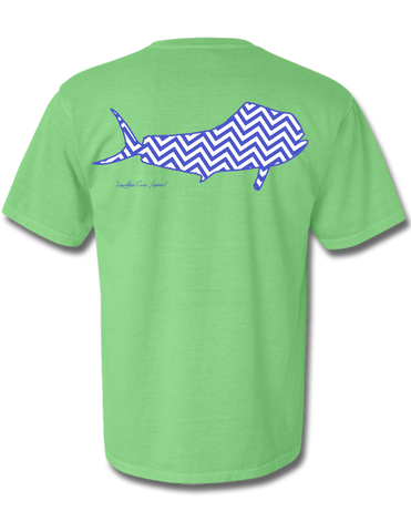Chevron Mahi Neon Green Navy/White Short Sleeve Small