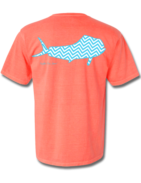 Chevron Mahi Neon Red Orange Short Sleeve Small, T-Shirt - Southern Cross Apparel