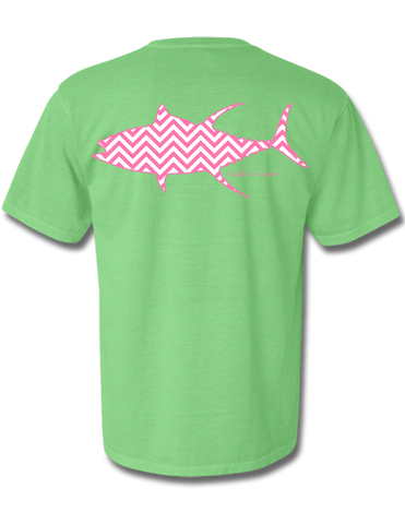 Chevron Tuna Neon Green Short Sleeve Small