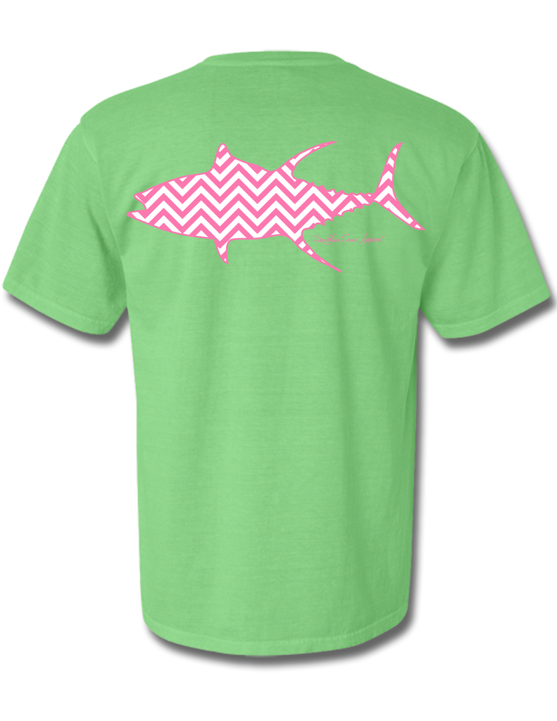 Chevron Tuna Neon Green Short Sleeve X-Large, T-Shirt - Southern Cross Apparel