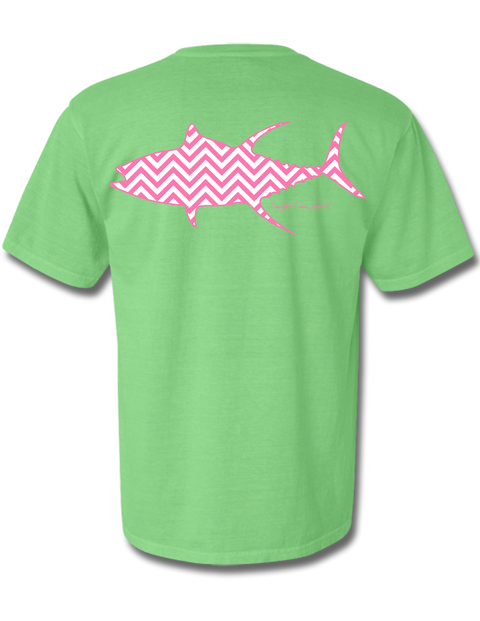 Chevron Tuna Neon Green Short Sleeve Large