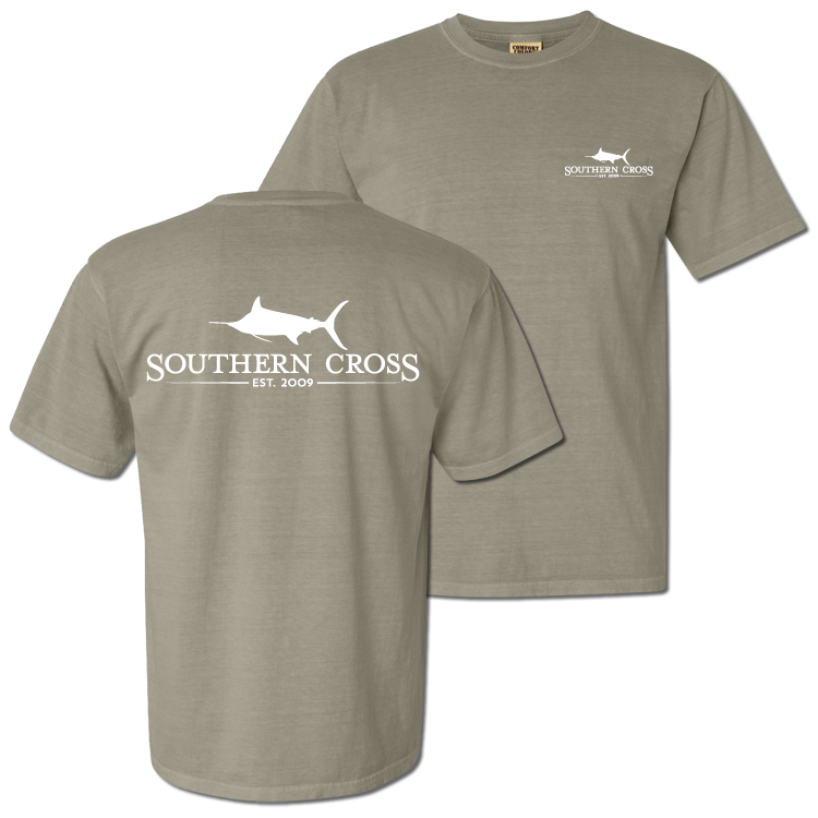 SCA Logo Sandstone (white print) Short Sleeve with pocket Small, T-Shirts - Southern Cross Apparel