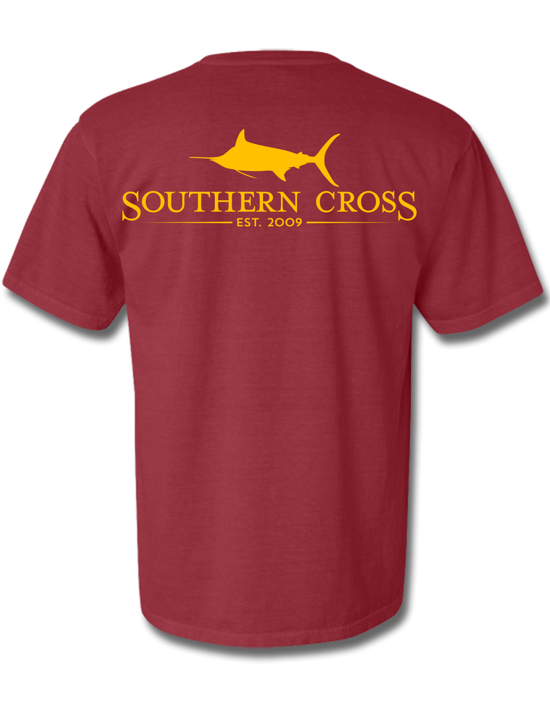 SCA Logo Crimson (Gold Ink) Short Sleeve Small, T-Shirts - Southern Cross Apparel