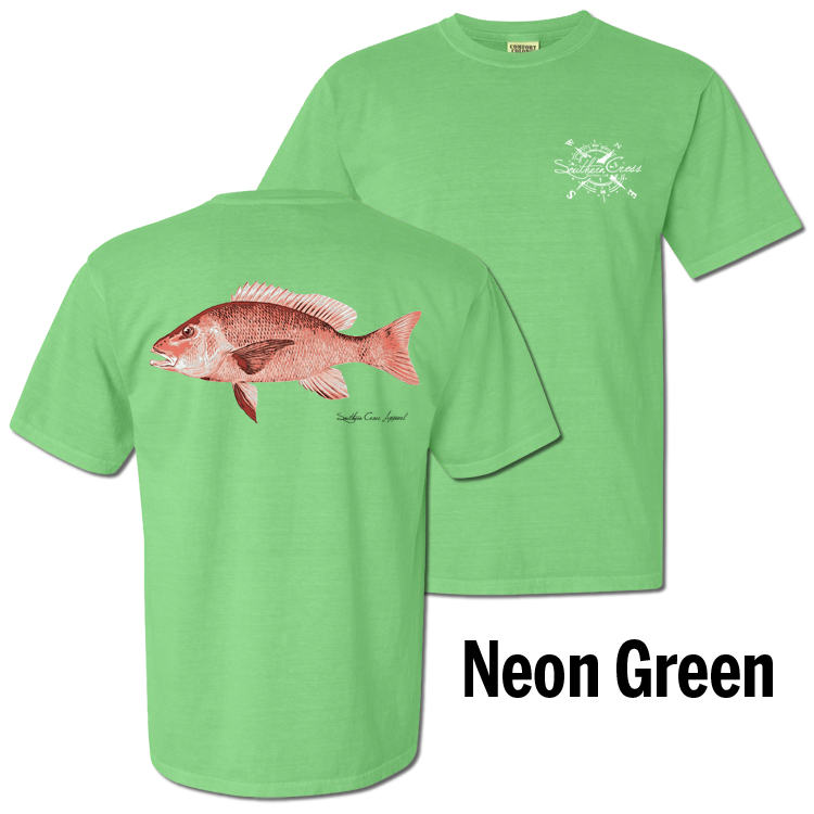 Red Snapper Short Sleeve Neon Green Small, T-Shirts - Southern Cross Apparel