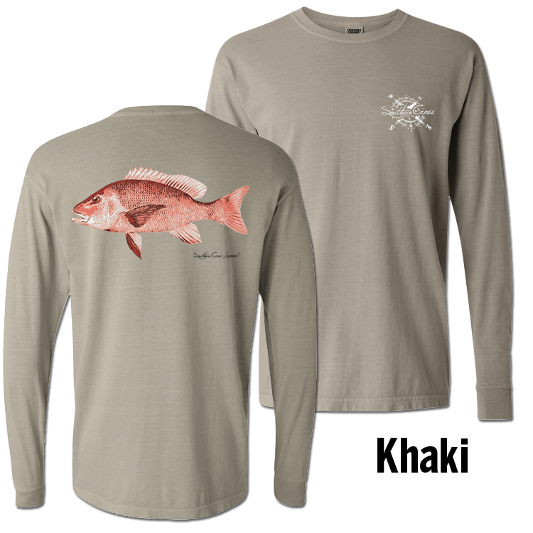 Red Snapper Long Sleeve Khaki Small, T-Shirts - Southern Cross Apparel