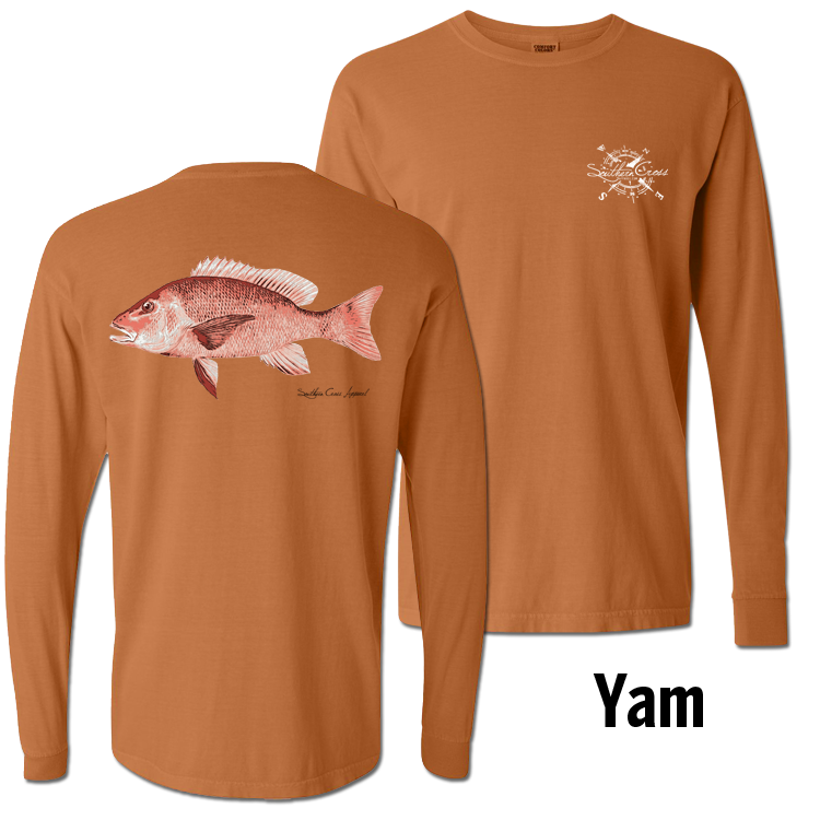 Red Snapper Long Sleeve Yam Small, T-Shirts - Southern Cross Apparel