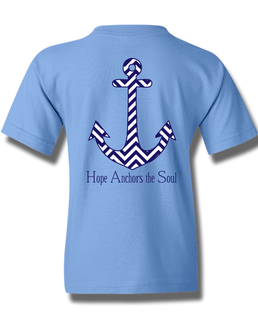 Chevron Hope Anchors Carolina Blue Youth Short Sleeve XS