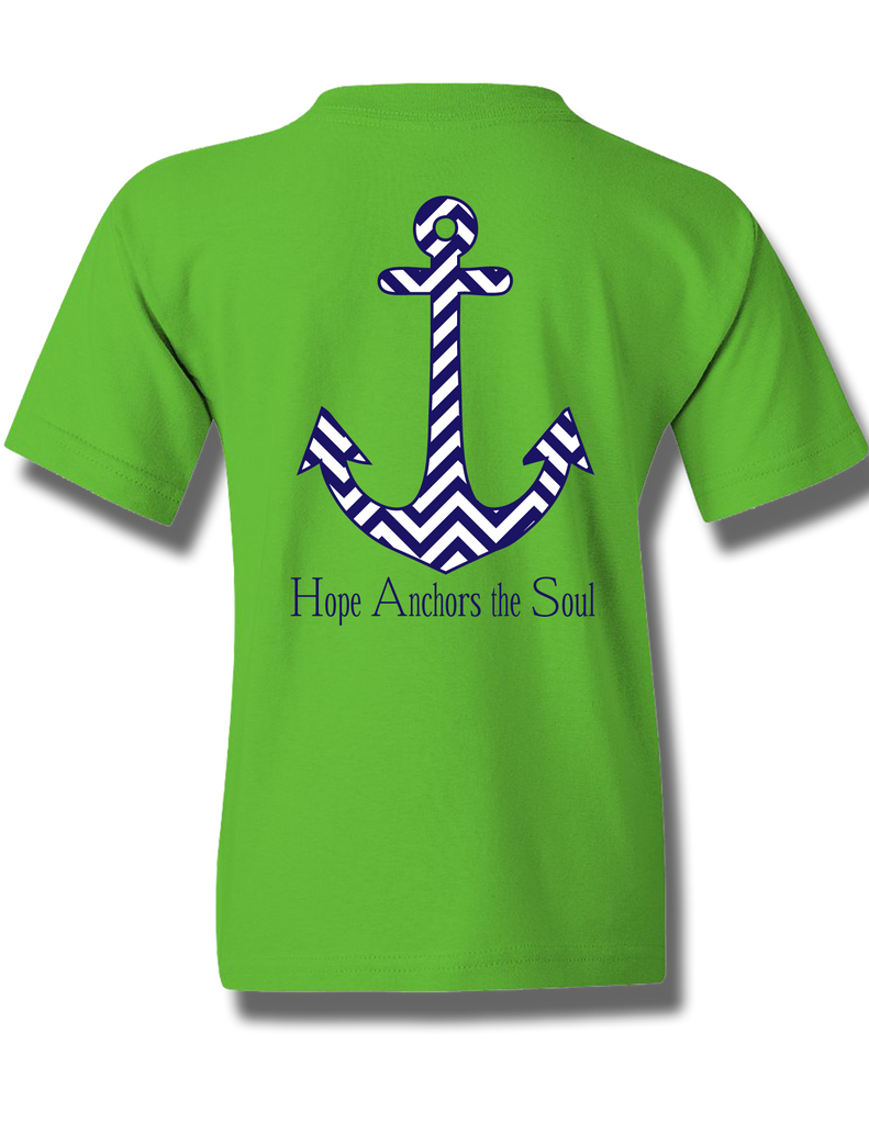 Chevron Hope Anchors Electric Green Youth Short Sleeve S