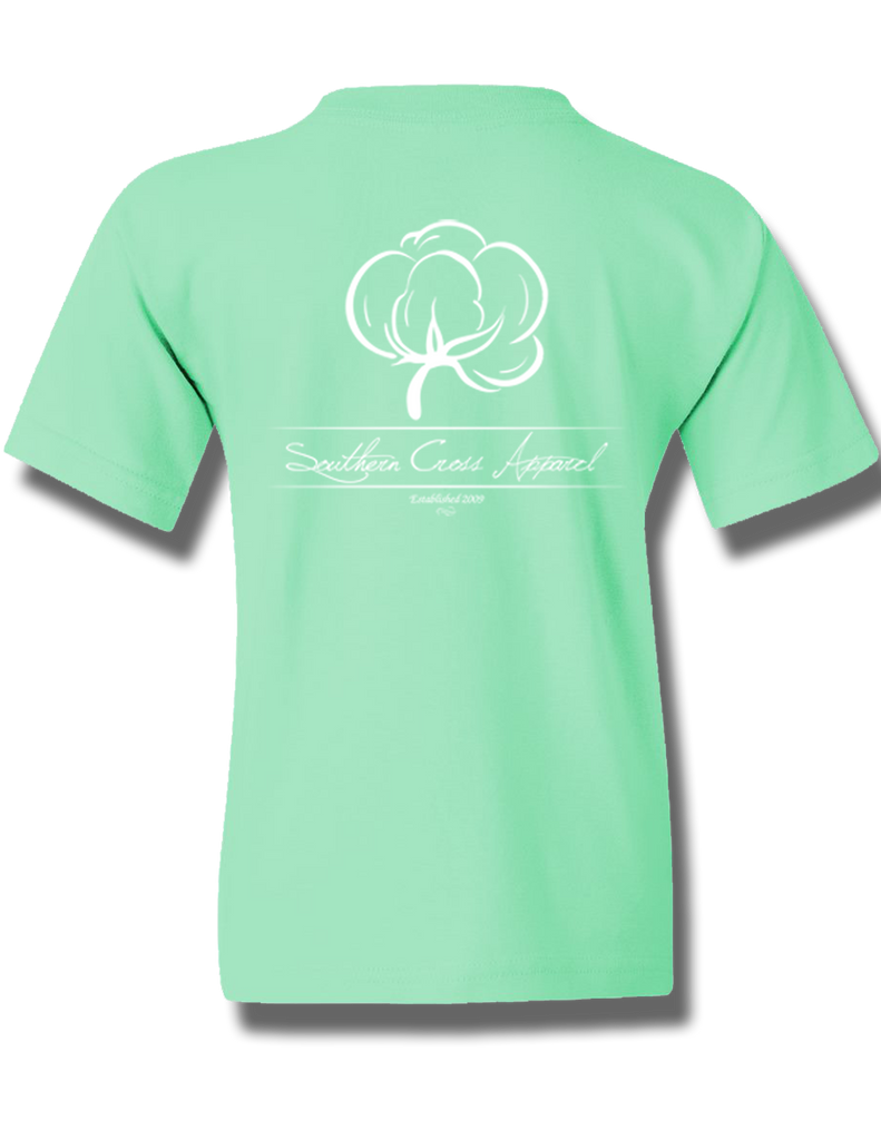 Cotton Boll Youth Short Sleeve Mint Small, T-Shirt - Southern Cross Apparel
