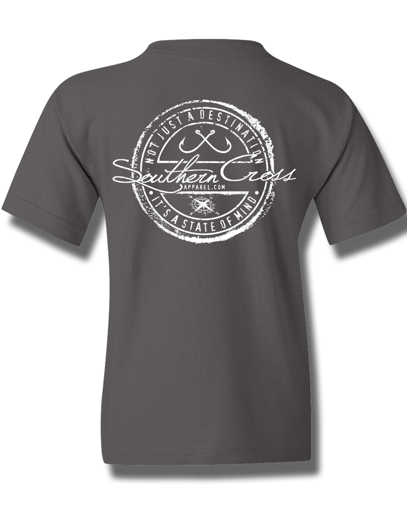 Fishing Stamp Charcoal Youth Short Sleeve XS, T-Shirt - Southern Cross Apparel