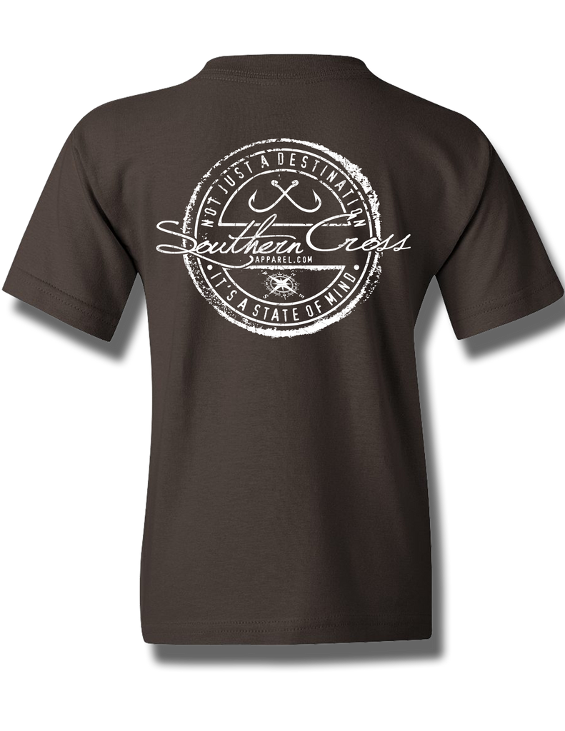 Fishing Stamp Dark Chocolate Youth Short Sleeve XS, T-Shirt - Southern Cross Apparel