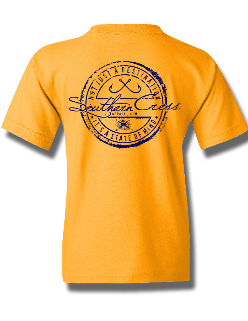 Fishing Stamp Gold Youth Short Sleeve XS, T-Shirt - Southern Cross Apparel