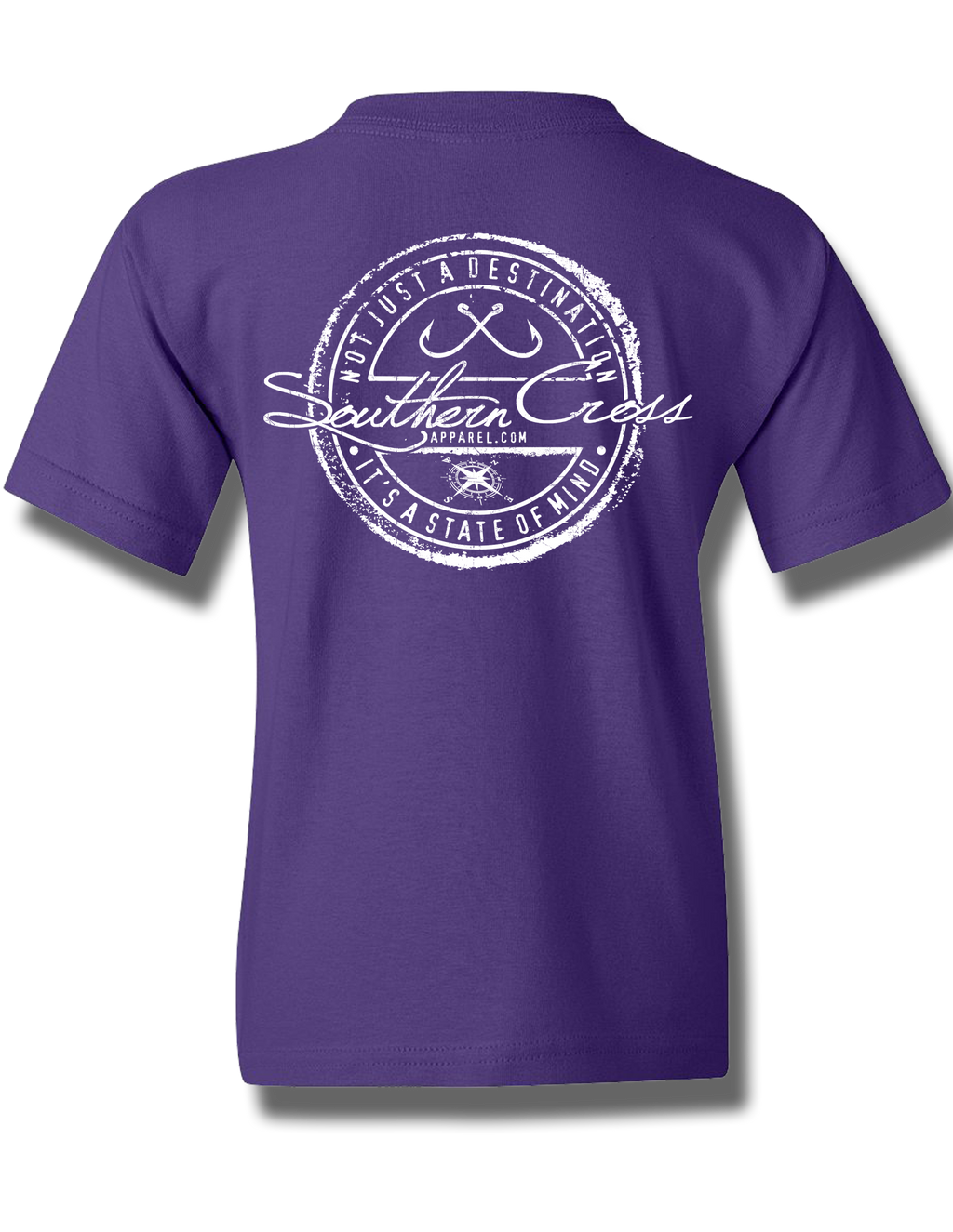 Fishing Stamp Purple Youth Short Sleeve XS