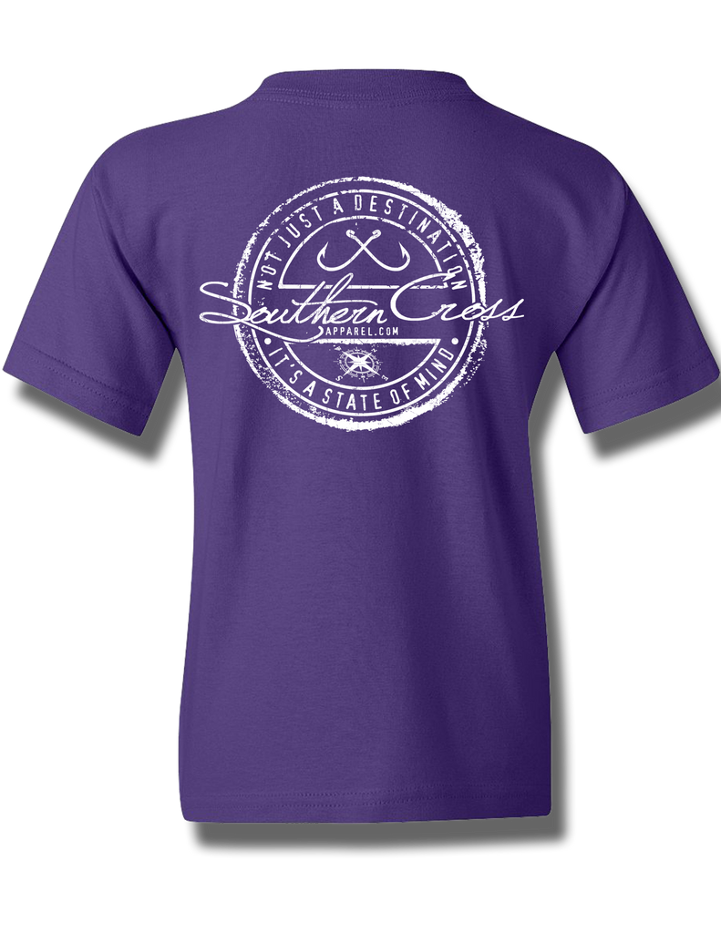Fishing Stamp Purple Youth Short Sleeve XS, T-Shirts - Southern Cross Apparel